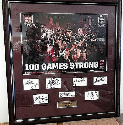 """Qld Rugby League """"legends""""  Framed And Glazed - Signed By 7 Superstars"""