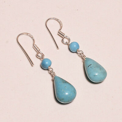 925 Sterling Solid Silver Earring Turquoise Handmade (DHD)