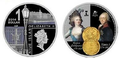 SALE! Niue 1 $ 2014 Russian emperors. Pavel I SILVER