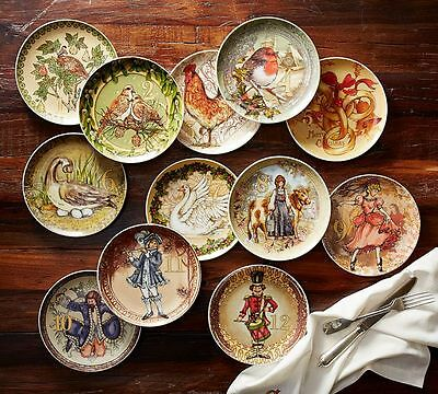 NEW Pottery Barn TWELVE 12 DAYS of CHRISTMAS SALAD PLATES Mixed set of 12 2016