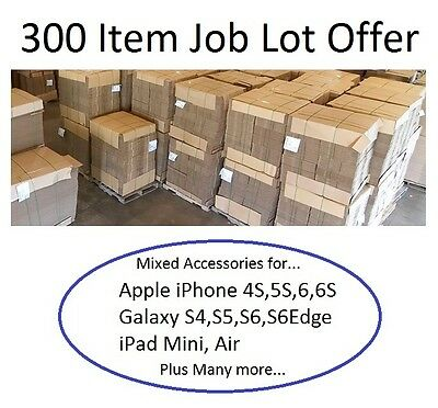 Mixed Job Lot 300 Item Wholesale iPhone 4S 5S 6S 7 iPad Galaxy S3 S4 S5 S6 Edge