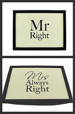 NEW:  MR RIGHT or  MRS ALWAYS RIGHT LAP TRAY - PADDED BEAN BAG CUSHION LAPTRAY