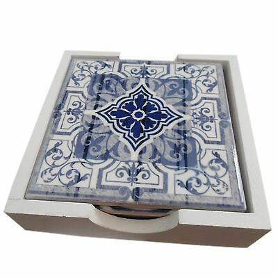 Moroccan Style Coasters Set of 4 White/Blue Ceramic 10.5cm x 10.5cm