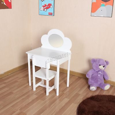 FoxHunter Kids Girls Dressing Table Chair Set Makeup Vanity Mirror KDT01 White