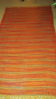 ANTIQUE Wool Camp BLANKET Reds Oranges Blues GREAT CONDITION Hand Woven