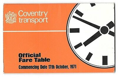 Coventry Transport Official Fare Table 17.10.1971