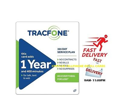 TracFone 400-Minute 1-Year Service Plan Prepaid Card, Applied To Phone Directly