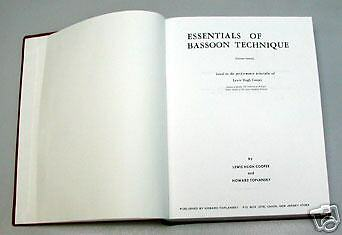Essentials of Bassoon Technique by Cooper and Toplansky