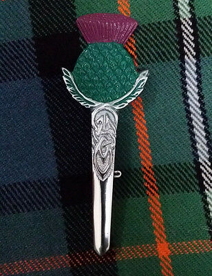 "New Scottish Thistle Hilt Kilt Pins Green,Pink Enamel Chrome 4""/Pin Brooch/Pin/S"