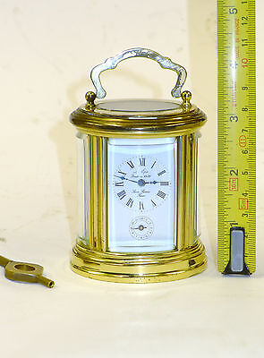 Miniature L'Epee French OVALE 8-day ALARM carriage mantel timepiece clock & key