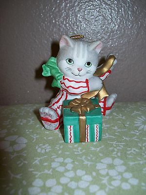 BRONSON COLLECTIBLES BC Gray Kitty with gift Porcelain Ornament 1994