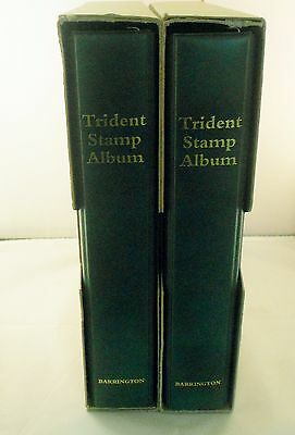 Trident 2 post stamp albums x 2   containing fine quality cartridge leaves.Green