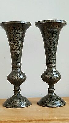 vintage pair of solid indian brass posy vases