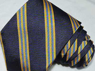 """Brooks Brothers  Men's Tie Navy Blue& Yellow/striped 3.75"""" 56"""" Usa"""