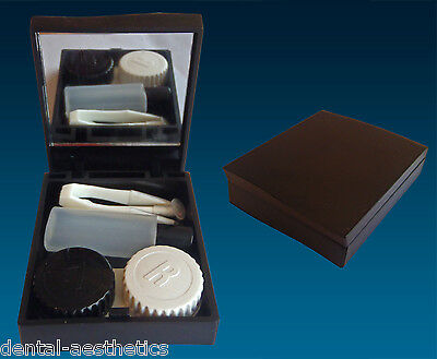 Contact Lens Travel Kit Case ~ Black ~ Mirror Tweezers & Lenses Solution Set
