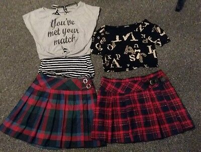 2 x tartan skirt and 2 x tops outfits 12 - 13 yrs