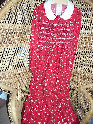Mother And Child Beautiful Warm Red Pattern Dress With Gathered Bodice, 9Yrs Exc