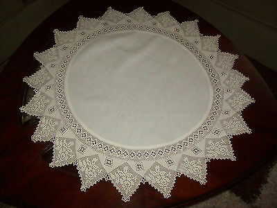 "Fancy! Antique Crochet Swag Lace Circular Centerpiece Doily  30"" Round"