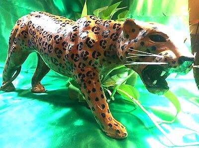 """Vintage Leather Wrapped Spotted Cheetah Jaguar Leopard Statue-Glass Eyes 20"""""""