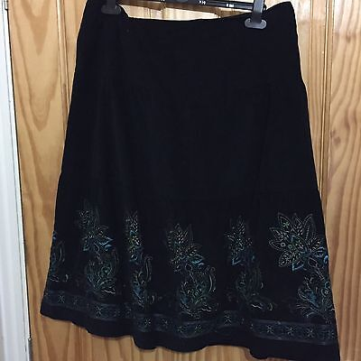 M & S Black Embroidered Cordroy Skirt