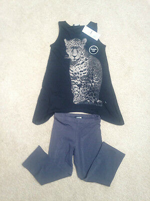 Girls Cherokee Glittery Black Party Tiger Top & Leggings Age 7-8 Years *BNWT*