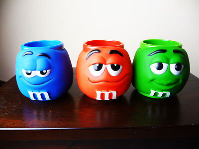 M & M WORLD thick plastic MUGS with 3-D Character Faces