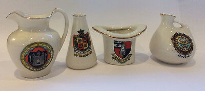 Small Collection of CRESTED CHINA Cornwall and top hat match striker (Worcester)