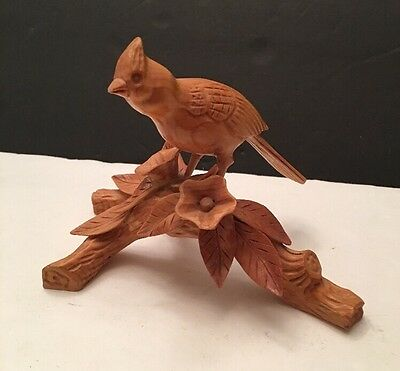 Carved Wooden Bird On Branch 1995 Cardinal?  Artist Signed Nice Piece!!!
