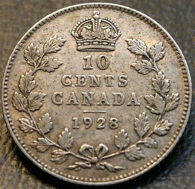 1928 Canada 10 Cents 10C Silver Coin