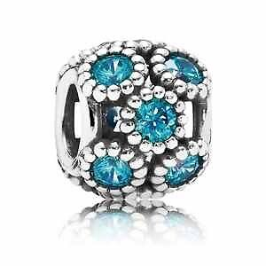 Genuine Pandora sterling silver S925 ALE Teal Openwork sparkling circles  charm
