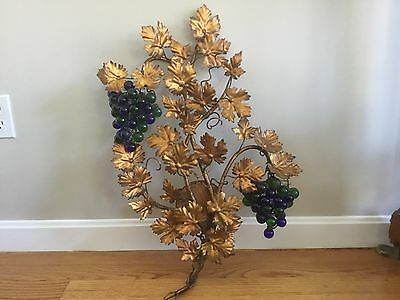 Vintage Tole Murano Czech Glass Grape Cluster Fruit Beaded Wall Sconce Italian