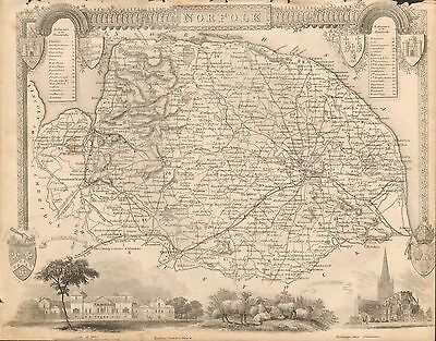 1850 Ca ANTIQUE COUNTY MAP-MOULE-NORFOLK, NORWICH, CROMER, YARMOUTH,THETFORD