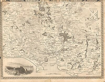 1850 Ca ANTIQUE MAP-MOULE-ENVIRONS OF PLYMOUTH AND DEVONPORT