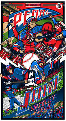 CUBS CHAMPS WIN!  Klausen Pearl Jam Wrigley Arist Print AP Signed Poster LIMITED