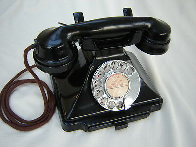 Vintage Working GPO Pyramid 232 Bakelite Telephone With Bell Converted BT Plug