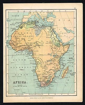 AFRICA, ABYSSINIA, NUBIA, CAPE COLONY - 1850 Antique Map - Phillips