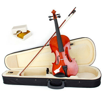Violin 4/4 Full Size Natural Acoustic Fiddle Bow Rosin Wood Musical Instruments