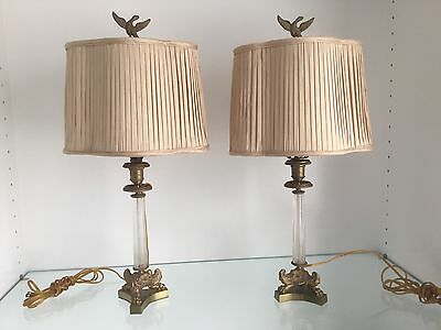 PAIR Antique Brass Bronze French Empire Napoleonic Bedside Lamp Silk Fold Shades