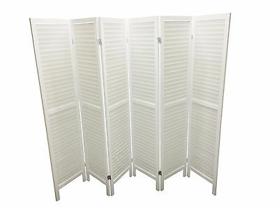White 4/6 Panel Wood Slat Room Divider Privacy Screen Separator Partition