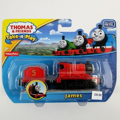 Fisher Price Thomas & Friends Take-n-Play James Die Cast Metal Red Train Engine