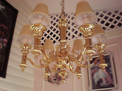 "Huge Solid Brass chandelier 24"" by 24"" + 10 feet of chain + 1 Sconce"