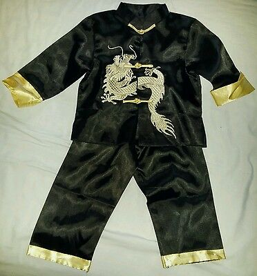 Black Chinese silk, childs mandarin suit / pyjamas. Size 2