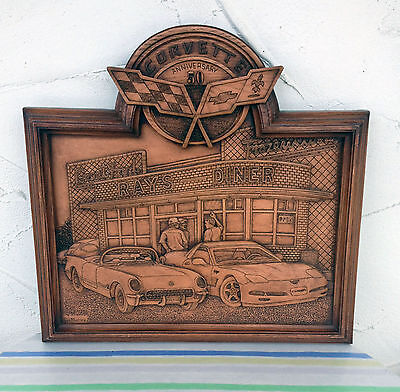 Corvette 50th Anniversary GM Wood Carving Kim Murray Excellent Condition