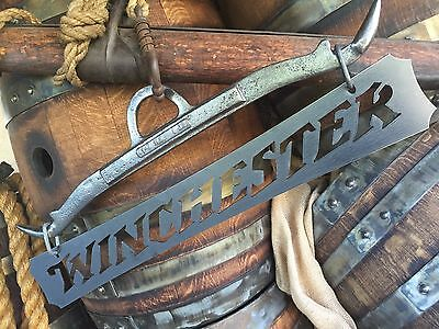 winchester sign GAMBREL hanging hunting guns metal plaque rustic antique classic
