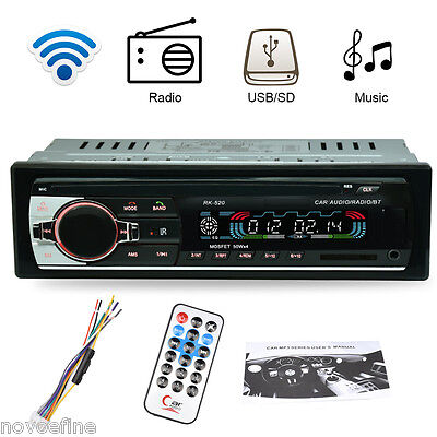 12V Bluetooth Coche Radio Estéreo MP3 Reproductor FM SD USB AUX Receptor 1 DIN