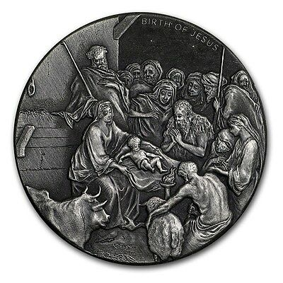 2016 Biblical Series | The Birth Of Jesus | 2 oz Silver Round USA Antiqued Coin