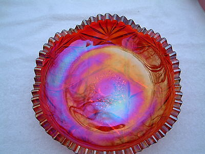 Red Iridescent Carnival Glass Bowl 8' Round 1.7/8' Tall