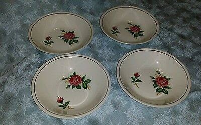 THE PADEN CITY Pottery pink Roses Leaves w/ gold trim-Small bowl , MADE IN U.S.A