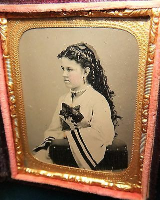 """Her name is """"LIZZIE"""" Lovely Young Woman Beautiful Hair, Jewelry 9th plateTintype"""