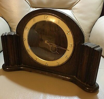 Antique vintage deco geometric oak Smiths 8 day 4 jewel wind up clock working